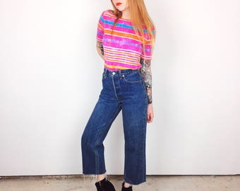 PERFECT FIT Levi's Vintage High Waisted Button Fly Ankle Crop Jeans Made in USA // Women's size 29 30 9 10 Short Petite