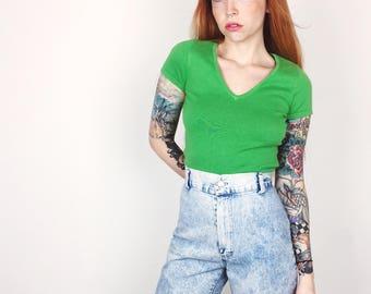 High Waisted Acid Stone Wash Vintage Retro Slim Fit Denim Shorts // Women's size 25 26 3 5 Small S