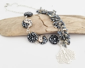 Silver Black Necklace | Sea Coral Pendant | Beach Necklace | Kazuri Beads | Beaded Necklace | Handmade OOAK | Gift for Her | The Blue Hutch