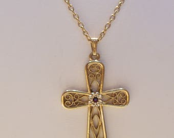 Sarah Coventry Gold Tone Filigree Cross Pendant Necklace with Faux Ruby