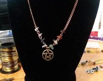 Bronze/Copper Pentacle Chakra Necklace