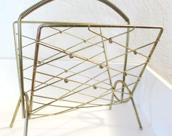 Mid Century Atomic Era Goldtone Magazine Rack