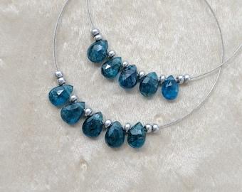 Neon Blue Apatite Faceted Pear Beads, 6-7mm, Neon Blue Gemstones, Cobalt Blue Teardrop Beads, Blue Destash Faceted Pear Apatite Gemstones