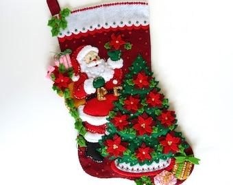 Christmas Stocking Finished Bucilla Stocking Personalized Stocking Santa Poinsettia Tree Family Stocking Holiday Stocking Christmas Gift