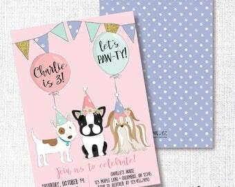 dog birthday party invitation printable puppy invite pink and purple doggy - Dog Birthday Party Invitations