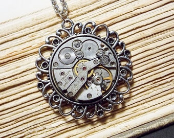 Antique Watch Movement Necklace