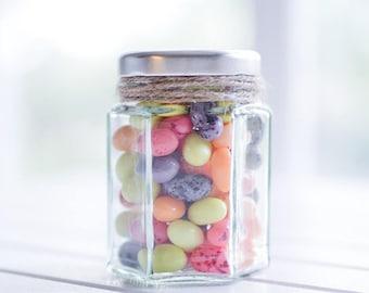 70 x 110ml small hexagonal glass jars - White / Black / Gold / Silver lids - DIY wedding favours / Bomboniere / Bonbonniere