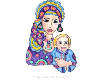 CUSTOM Painting / Mother Son Daughter Portrait / Mom Boy Girl Child / Watercolor Artwork Colorful Unique / Gift for Mom Mother