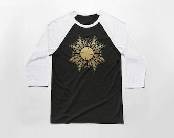 Puzzle Box 3/4 Sleeve Baseball T Shirt - Vintage Cotton/Poly Blend Apparel For Men & Women
