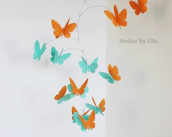 3D butterflies hanging mobile, Hand painted mobile, Pumpkin orange and mint green , Kinetic mobile, Home decor