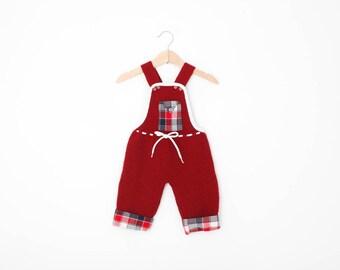 Vintage Baby Romper Overalls / Vintge Baby Clothes / Vintage Baby Overalls / Knit Romper