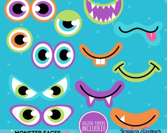 INSTANT DOWNLOAD - Monster Eyes Clipart for personal or commercial use