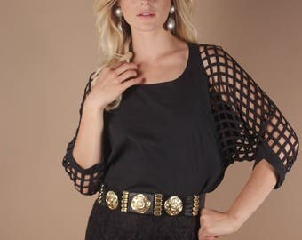 70s Vintage Black Avant Garde Dolman Sleeve Blouse   Minimalist Grid Cut Out Top Shirt