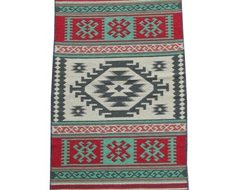 Small Kilim Rug - New Reversible Small Turkish Kilim Rug or Mat - 100cm x 60cm