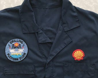 Blue Coveralls Jumpsuit - Vintage Overalls with Shell Patches - Size XL