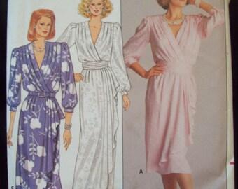 Misses Mock-Wrap Dress Richard Warren Design 1980s Butterick Pattern 3751 Size 12 Uncut Factory Fold