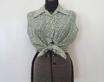 Vintage Sleeveless Blouse / XL-XXL / Plus Size Top