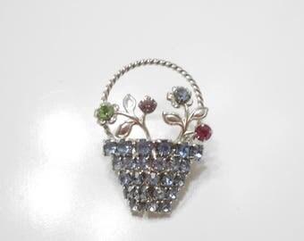 Vintage Blue Rhinestone Flower Basket (8870) Rhinestone Flowers