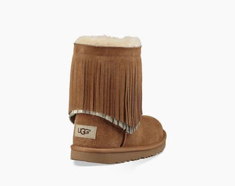 Custom Kids Youth UGG Boots Short Tan Fringe Tassels w/ Swarovski Crystal Rhinestone Jewel Winter Bling Dynamite shoes Rhinestone Gift