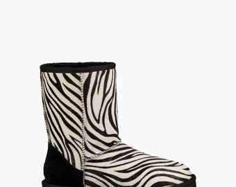Zebra UGG Australia Short Slip on Boots White Black Jungle Animal w/ custom Swarovski Crystal Bling Winter Shoes Dynamite Rhinestone Gift
