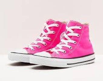 Kids Hot Pink Converse Girls Children Toddler Chuck Taylor High Top Glass Slippers w/ Swarovski Crystal Rhinestones All Star Sneaker Shoes