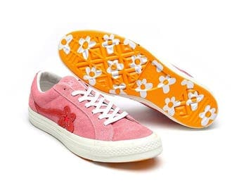 Converse Pink Geranium Paradise Tyler The Creator Golf Le Fluer Suede One Star Low Custom Men Ladies w/ Swarovski Crystal Rhinestone Shoes