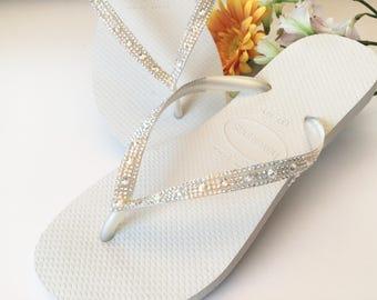 Custom White Havaianas Slim Flip Flops w/ Ivory Cream Crystal Moonlight Swarovski Rhinestone jewel Glass Slipper Bridal Wedding Shoes Thong