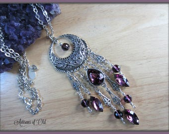 Amethyst Vintage Glass Necklace, Crystal Beads and Drops, Silver Crescent Long Necklace, Silver Floral Pendant, Ready to Ship