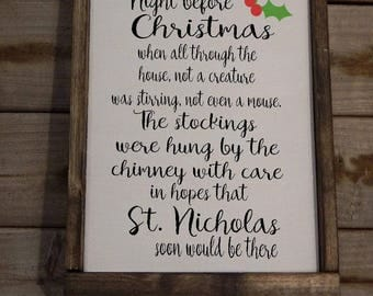 Twas the night before Christmas... Wood framed Christmas sign