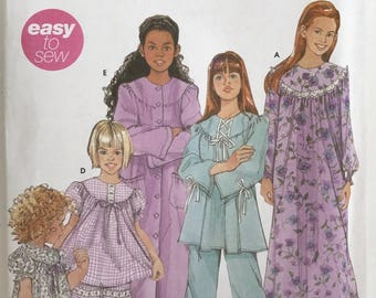 UNCUT Child's Pajamas, Nightgown, Robe Sewing Pattern Simplicity 5382 Size 3-4-5-6 Christmas Pajamas, Pants, Shorts, Winter
