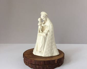 M I Hummel Flower Madonna, Vintage Late 1970s TMK5 10/1 8-In Figurine, Goebel W Germany, Last Bee Mark Decal, White Porcelain Virgin Mary