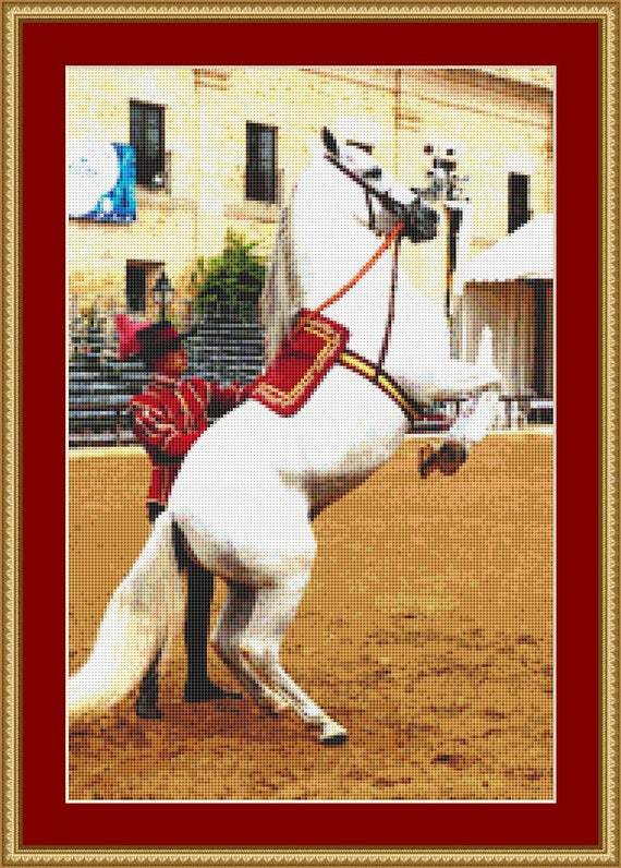 Trained Horse Cross Stitch Pattern /Digital PDF Files /Instant downloadable