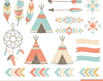 Tribal Elements Clipart, Teepee, Navajo, Southwestern, Indian Digital Clipart, Tribal Clip Art, Dreamcatcher, Arrows - Commercial & Personal