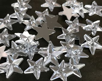 small mirrored star embellishments resin finding jewelry coponent glue on celestical assemblage, lot of 10 pcs