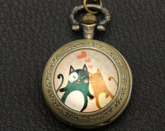 Necklace Pocket watch the two friendly cats