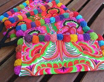 BOHO Clutch, Pompom Clutch Purse ,Clutch Bag, Bags and Purses,Colorful Hippie Clutch,Hmong Embroidered Bag, Clutch Wristlet, Wholesale Bags,