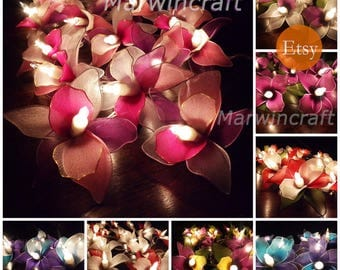 11 Colours Select 20 LED Battery or Plug in Orchid Flower Fairy String Lights Party Patio Wedding Garland Home Living Bedroom Decor 3.5m