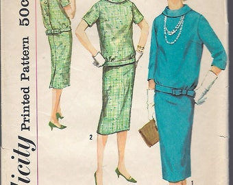 """Vintage 1958 Simplicity 2600 Two Piece Dress Sewing Pattern Size 18 Bust 38"""""""