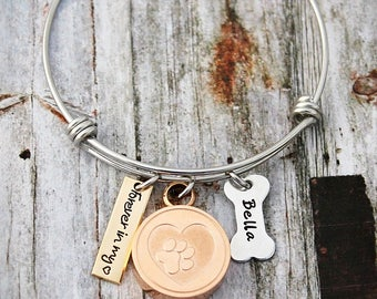 Charm Bracelet - Wire Bangle - Mother Bracelet - Personalized - Mixed Metal - Kids Names - Mom - Gold Rose Gold Silver - 3 Kids