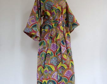 Kimono dressing gown green, yellow and multicolor designs sky look