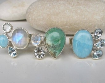 Cluster Ring Gemstone Turquoise Moonstone Bohemian All Sizes Multistone December June Ring Boho