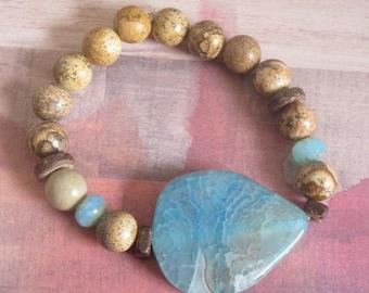 Handmade Smooth Blue Marble Glass Beaded Stretch Bracelet with Stone Like Beads