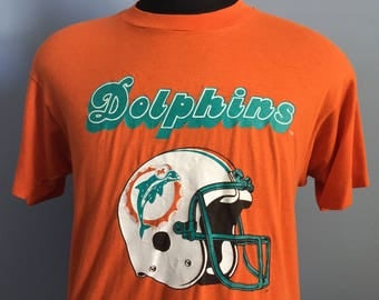 80s Vintage Miami Dolphins nfl football T-Shirt - LARGE