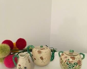 ASIAN TEA SET, Teapot, Creamer, Sugar, Oriental Tea Set, Early 1900's, Majolica Tea Set, Chinoiserie, Faux Bamboo Style at Ageless Alchemy