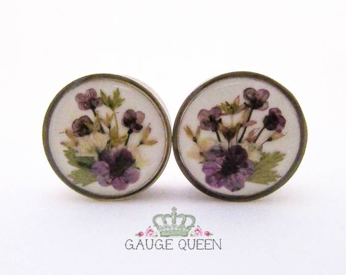 "Real Flower Plugs / Gauges. 1"" / 25mm - Reduced to Clear - Last Pair"