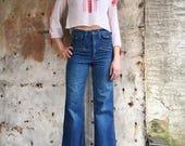1970s Wide Leg High Waist Pockets Flare Bell Bottom Jeans 25 26 XS
