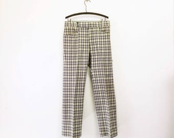 1970s Disco Era Men's Plaid Pants Vintage 70s Leisure Suit Era Gray & Beige Knit Polyester Trousers by Haggar Expand-o-matic - Size MEDIUM