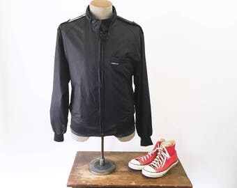 1980s MEMBERS ONLY Jacket Men's Vintage 80s Classic Black Thin Windbreaker Cafe Racer Type Jacket / Coat - Size 38 (MEDIUM)