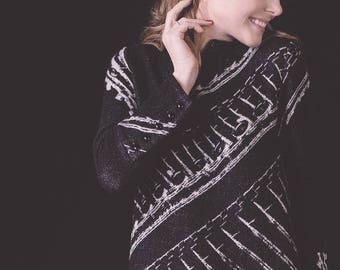 Black knitted dress / black winter dress / Alpaca dress / Midi jumper dress / black dress / wool dress