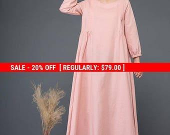 Linen dress, long dress, autumn dress, loose dress, womens dress, button dress, cute dress, handmade dress, maxi dress C1153